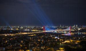 土耳其伊斯坦布尔大桥夜景高清图片