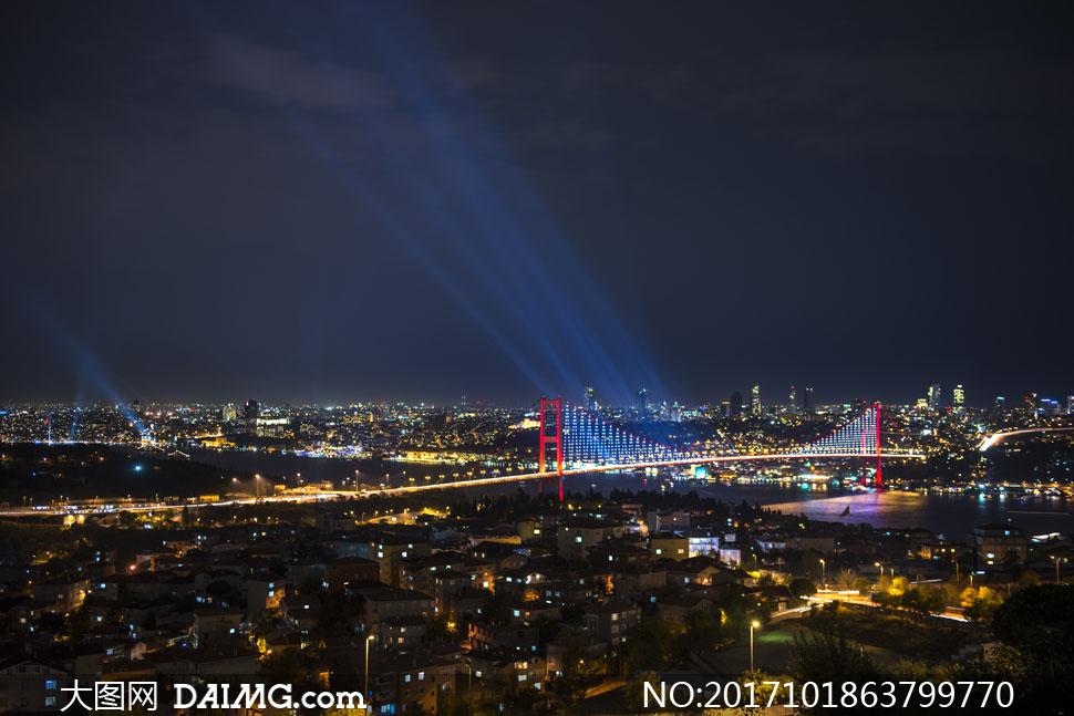 土耳其伊斯坦布尔大桥夜景高清图片图片