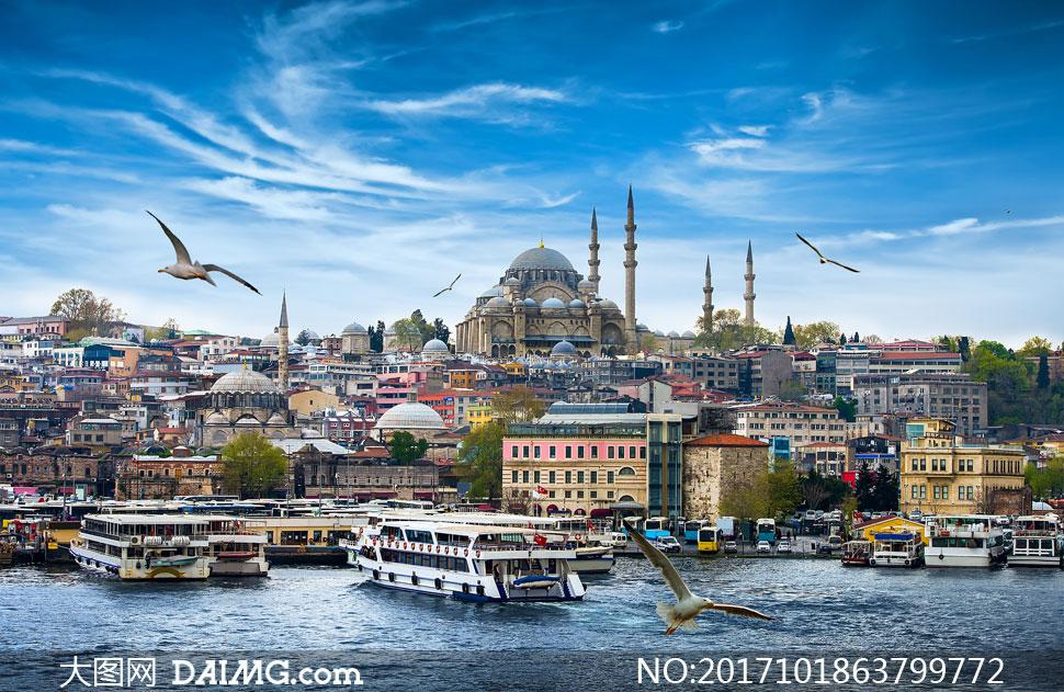 土耳其蓝色清真寺风光摄影高清图片