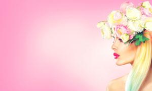露肩红唇花饰美女侧面摄影高清图片