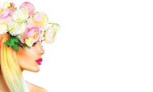 鲜花发饰浓妆美女人物摄影高清图片
