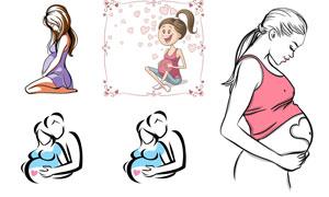 腹部隆起的孕妇人物创意矢量素材V1