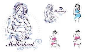 腹部隆起的孕妇人物创意矢量素材V2