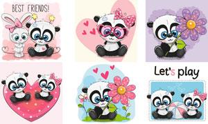 萌态可爱的卡通小熊猫创意矢量素材