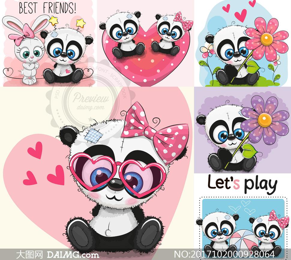 素材创意设计可爱卡通小熊猫礼物盒蝴蝶结蝴蝶星星花朵鲜花心形桃心