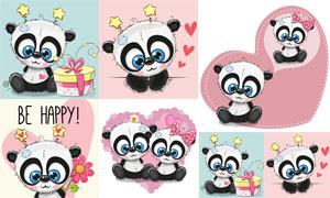 戴蝴蝶结的可爱小熊猫创意矢量素材