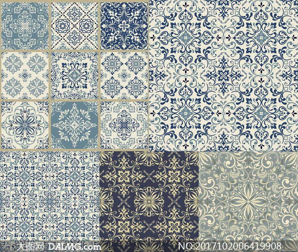 无缝平铺效果古典花纹图案矢量素材