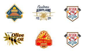 披萨店铺与建筑工程等标志矢量素材
