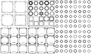 黑白效果圆形方形装饰边框矢量素材