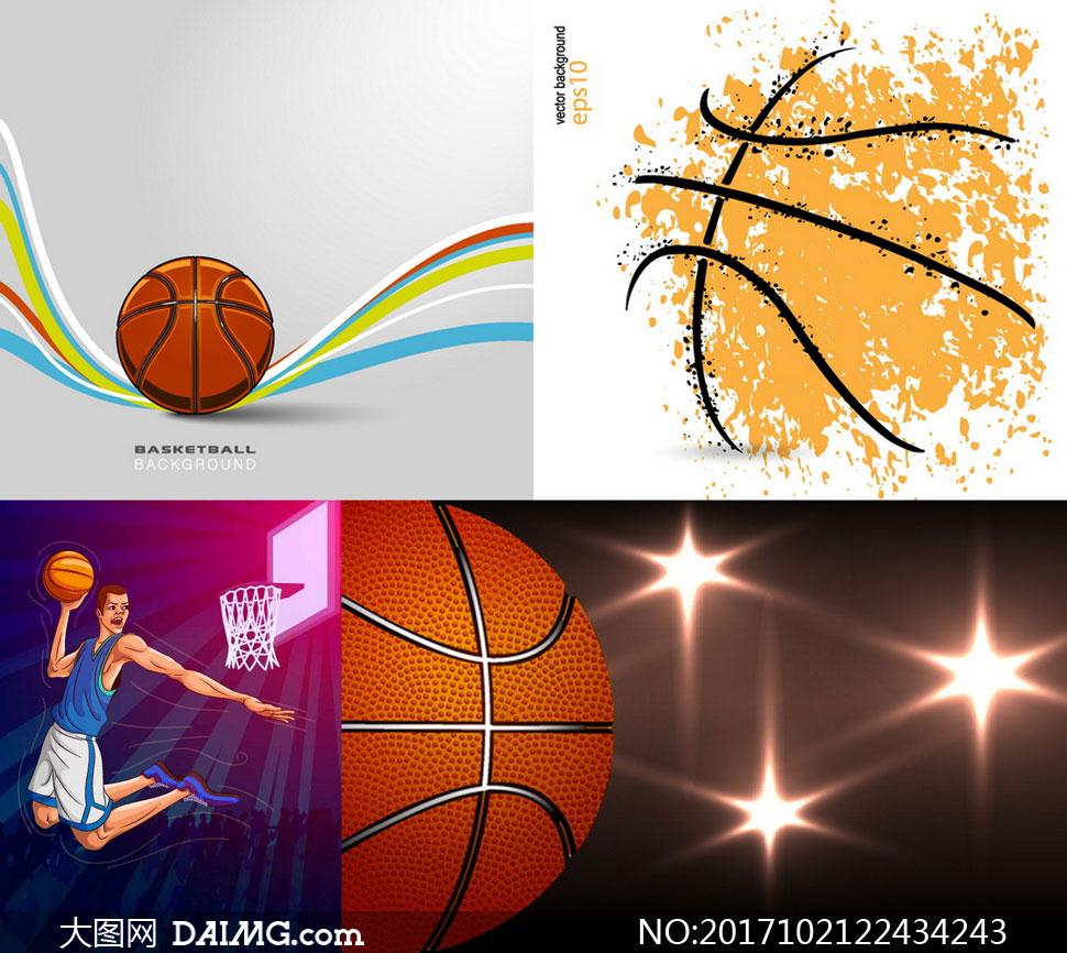 光效与灌篮人物等篮球运动矢量素材