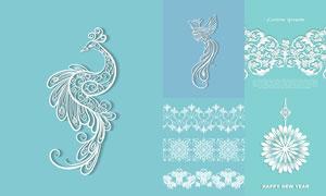 白色镂空效果的花纹图案矢量素材V3