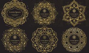金色光效点缀花纹装饰图案矢量素材