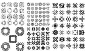 黑白效果花纹图案装饰元素矢量素材
