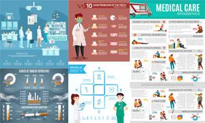 医疗救助健康主题信息图表矢量素材