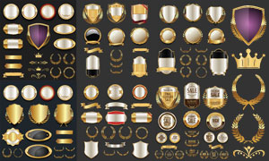 金色豪华标签贴纸设计创意矢量素材
