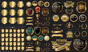 金色盾牌与奖杯缎带等创意矢量素材