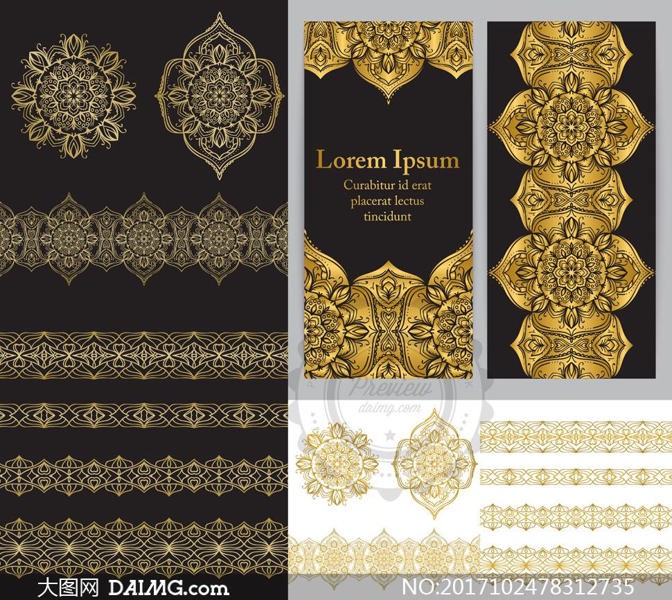 多用途装饰的金色花纹图案矢量素材