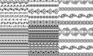 黑白效果的花纹图案分隔线矢量素材