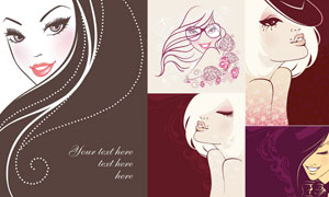 高雅美女人物插画创意设计矢量素材