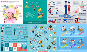 不同主题的信息图创意设计矢量素材