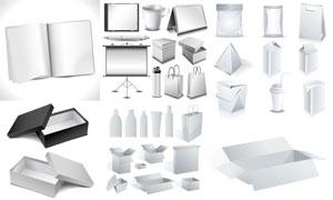 空白的手提袋與紙盒等設計矢量素材