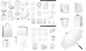 手提袋與空白包裝盒等元素矢量素材