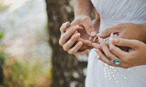 戴戒指的新娘人物特写摄影高清图片