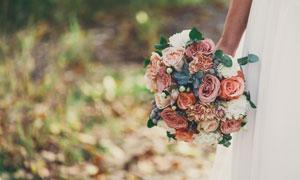 拿在新娘手里的一束花摄影高清图片