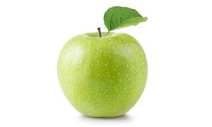 带着一枚绿叶的青苹果摄影高清图片