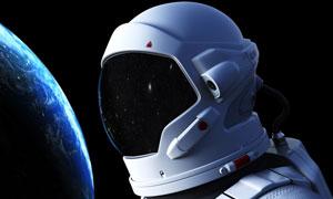 地球與太空中的宇航員創意高清圖片