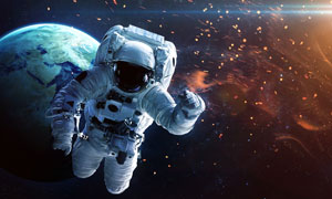 游離在宇宙空間中的宇航員高清圖片