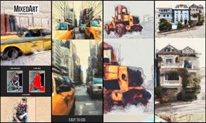 创意的混合艺术绘画效果PS动作