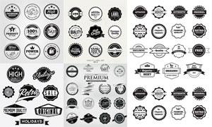 圆形样式复古怀旧标签设计矢量素材