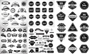 形状各异黑白效果标签设计矢量素材