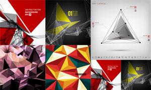 多彩低多边形抽象元素背景矢量素材