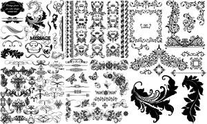 黑白复古效果花纹装饰图案矢量素材
