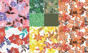 无缝平铺效果花卉植物图案矢量素材