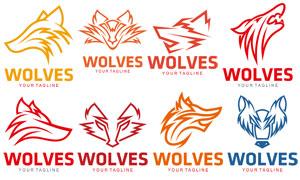 狼头图案元素标志创意设计矢量素材
