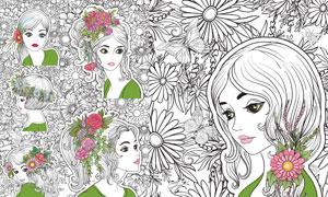 手绘线描风格美女插画创意矢量素材