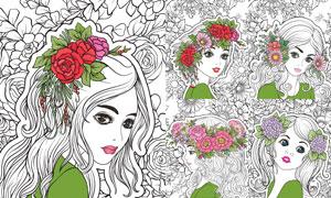 花朵头饰美女插画人物创意矢量素材