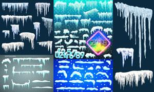寒冷冬天积雪冰凌主题设计矢量素材