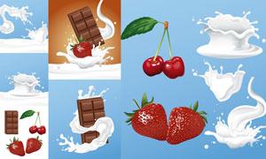 逼真草莓巧克力与奶花樱桃矢量素材