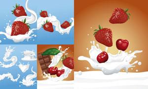 草莓樱桃与喷溅的牛奶效果矢量素材