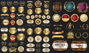 金色盾牌样式质量标签设计矢量素材