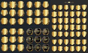 空白效果金色盾牌效果标签矢量素材