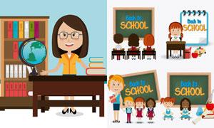 教师与听讲的学生卡通人物矢量素材