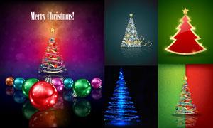 圣诞树与逼真的圣诞球创意矢量素材