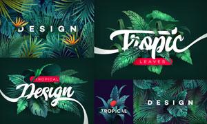 逼真效果绿叶热带植物设计矢量美高梅娱乐