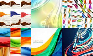 五颜六色炫丽曲线背景创意矢量素材