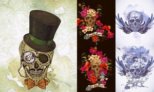 鲜花装饰的骷髅头创意设计矢量素材